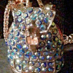 Betsey Johnson Blue Rhinestone Backpack Necklace